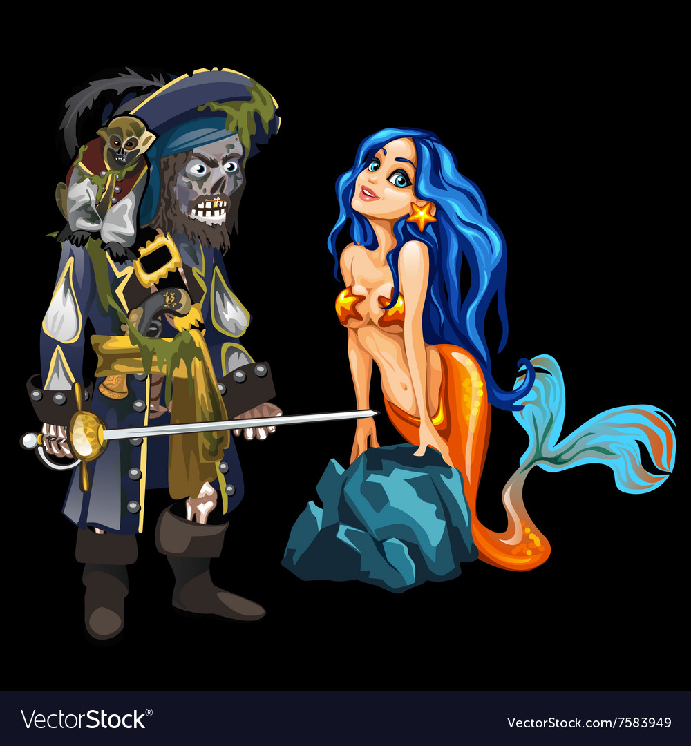 Dead pirate and cute mermaid cartoon character vector