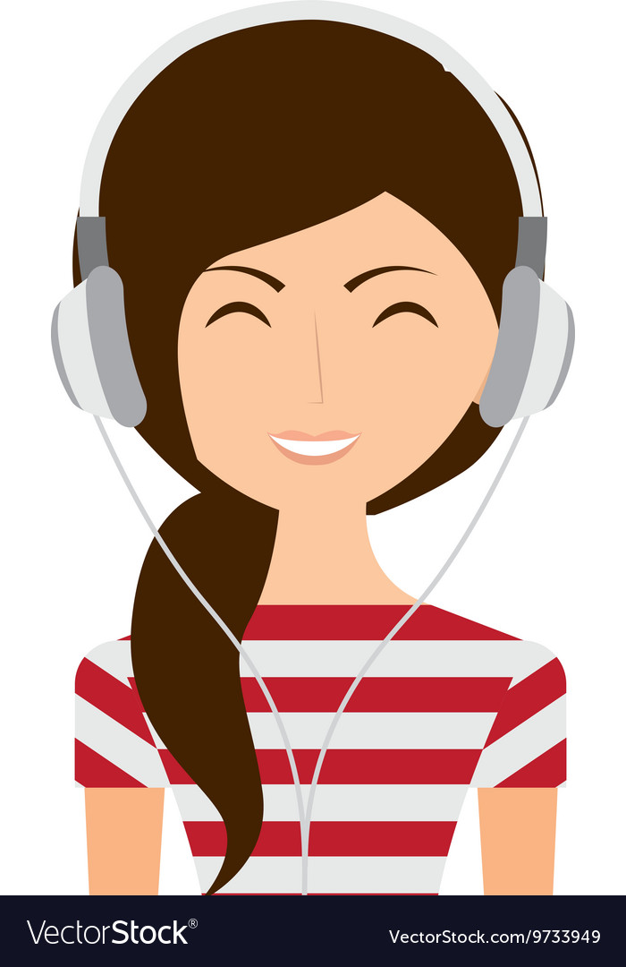 Woman with headphones isolated icon design vector