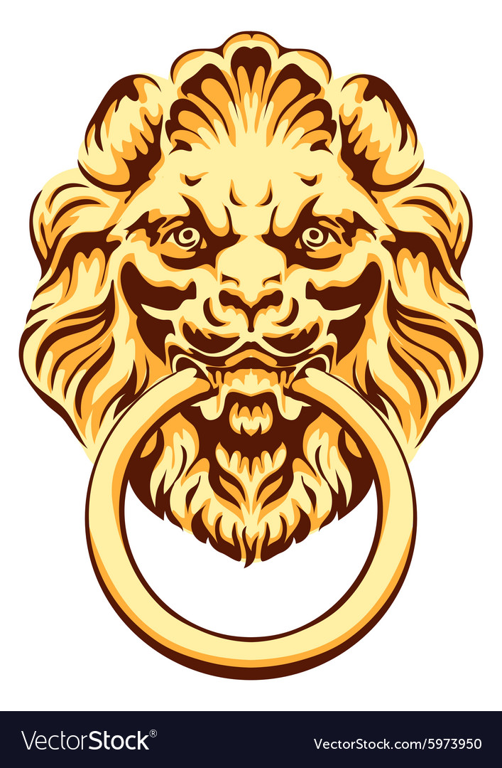 Head of a lion  door handle vector