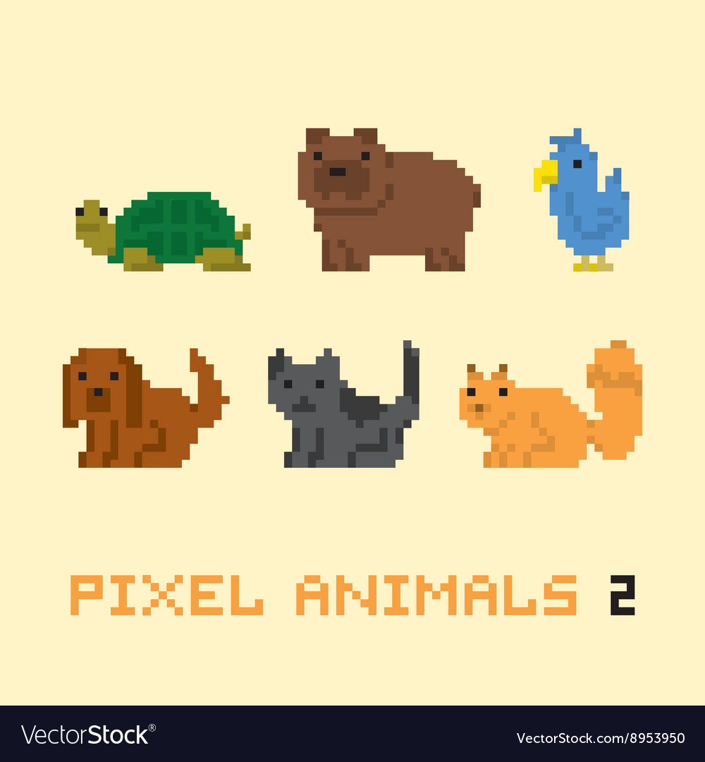 Pixel art style animals cartoon set 2 vector
