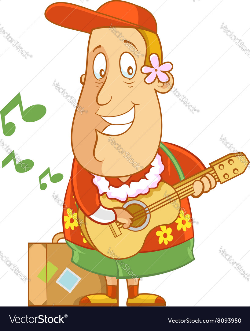 Tourist hawaii ukulele vector