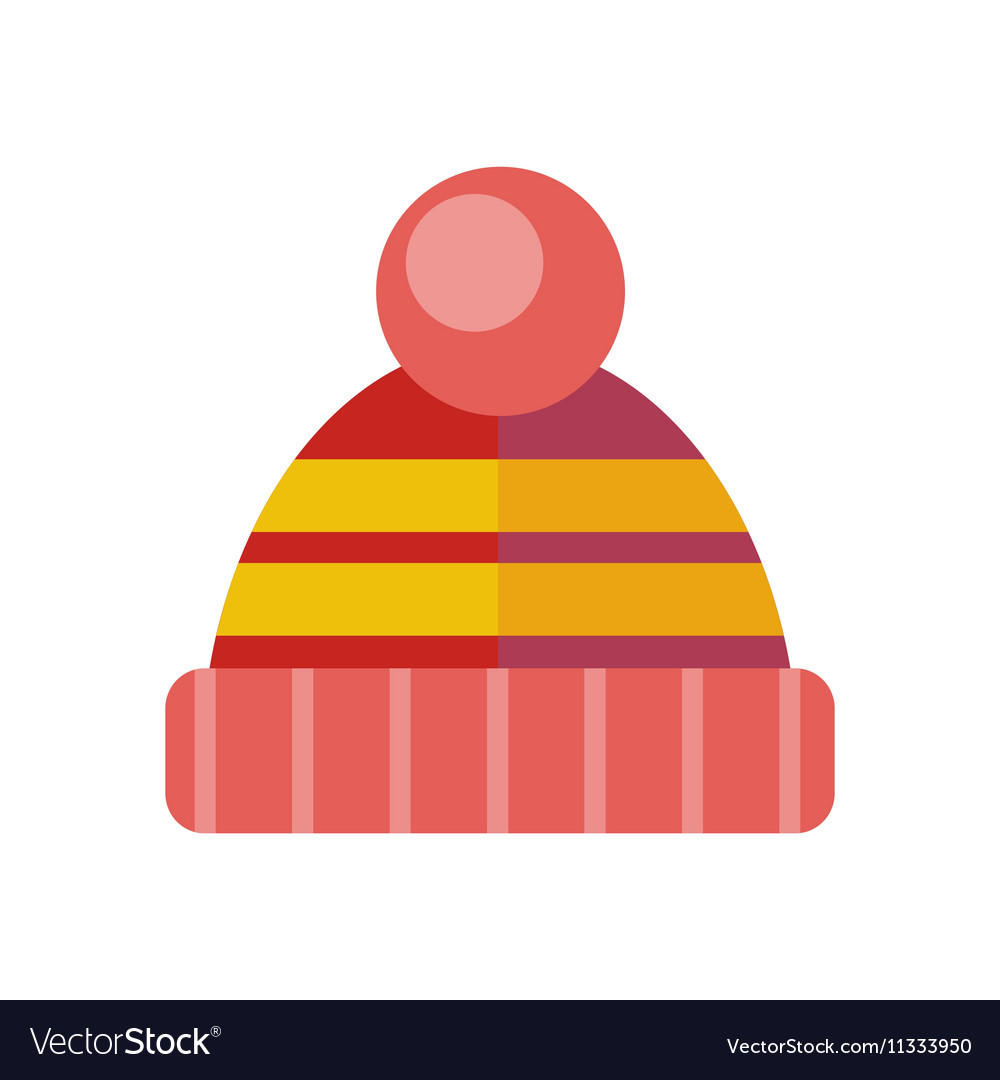 Winter knitted red hat head covering vector