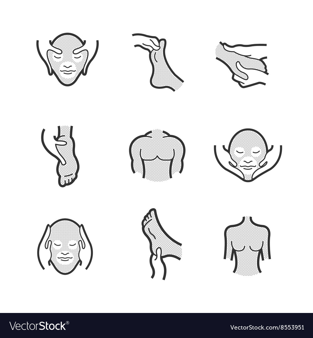 Set of alternative medicine massage icons vector