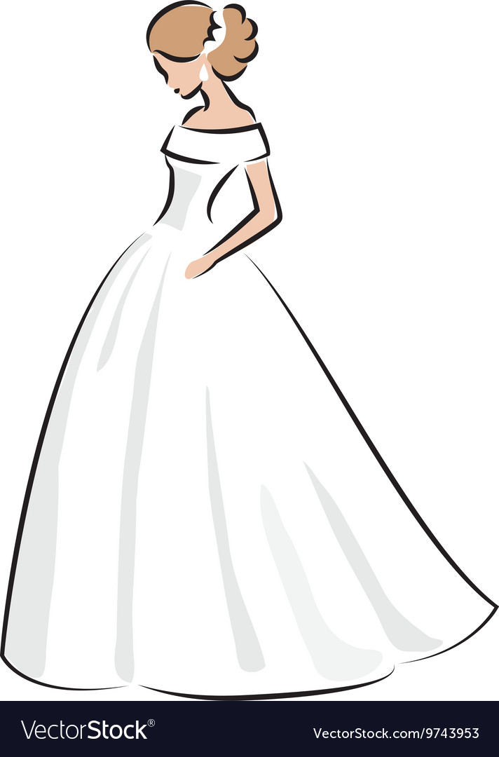 Color sketch of an elegant bride in white dress vector