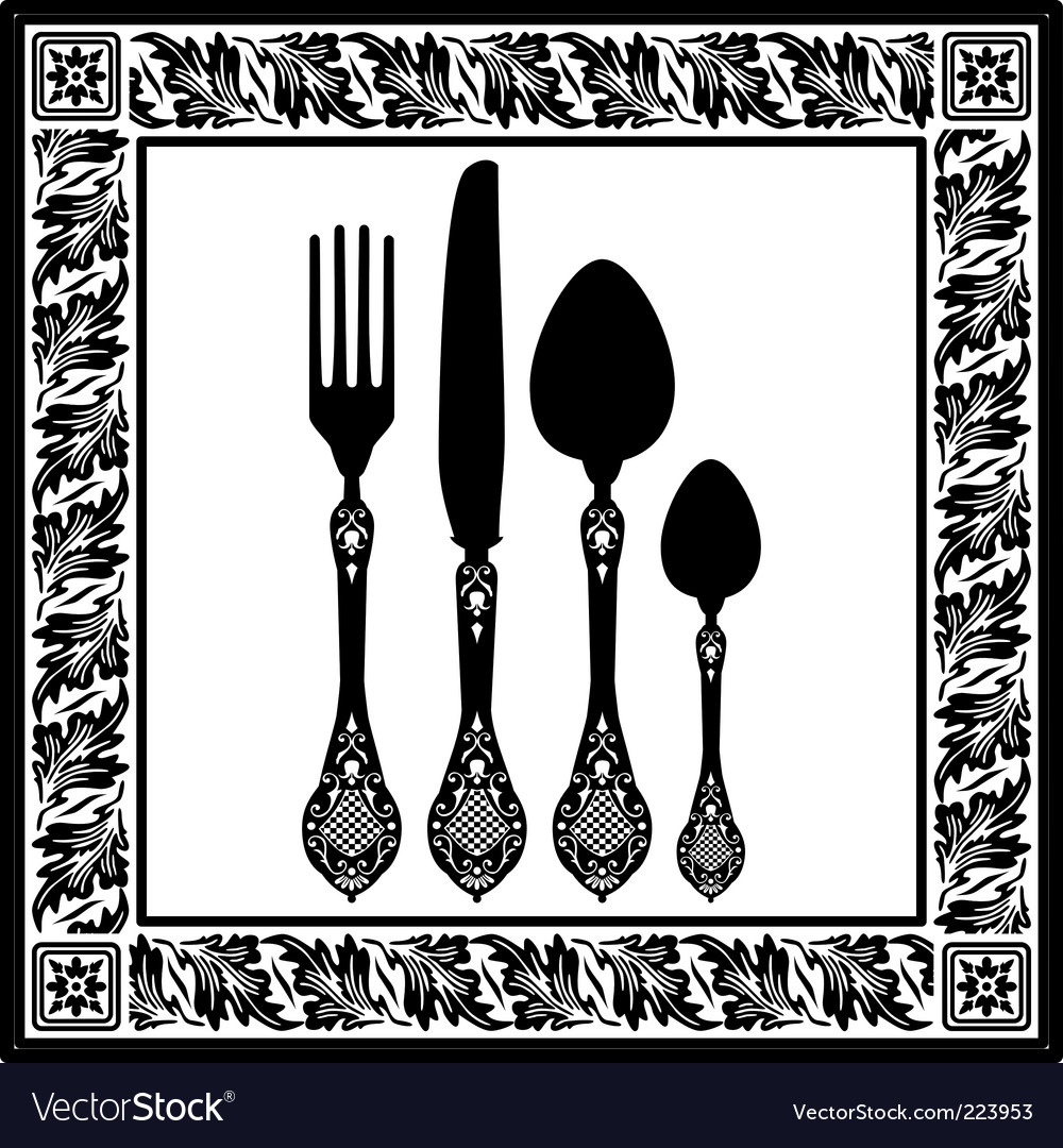 Retro cutlery vector