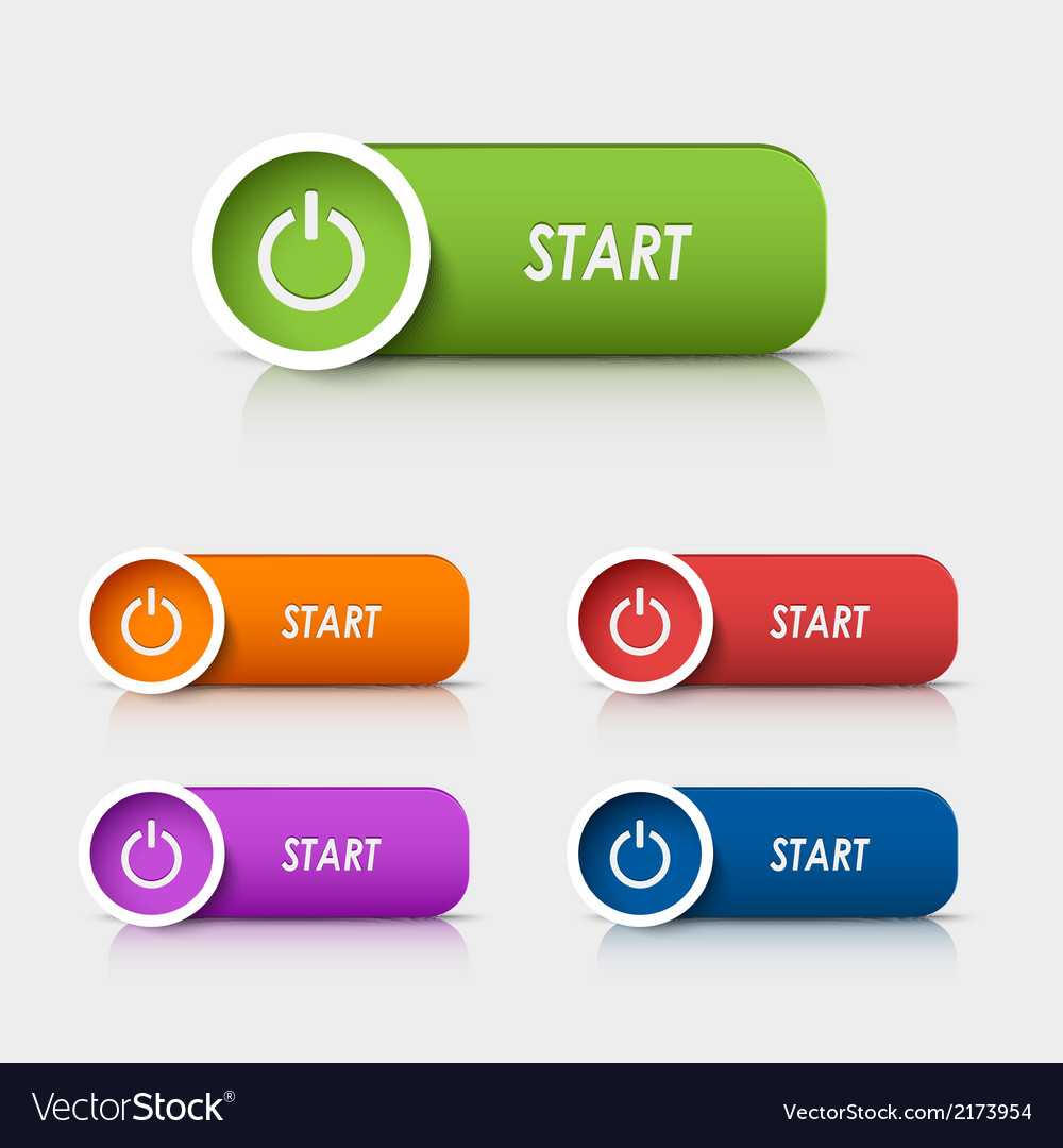 Colored rectangular web buttons start vector