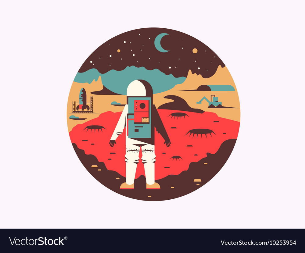 Man in space on unknown planet vector