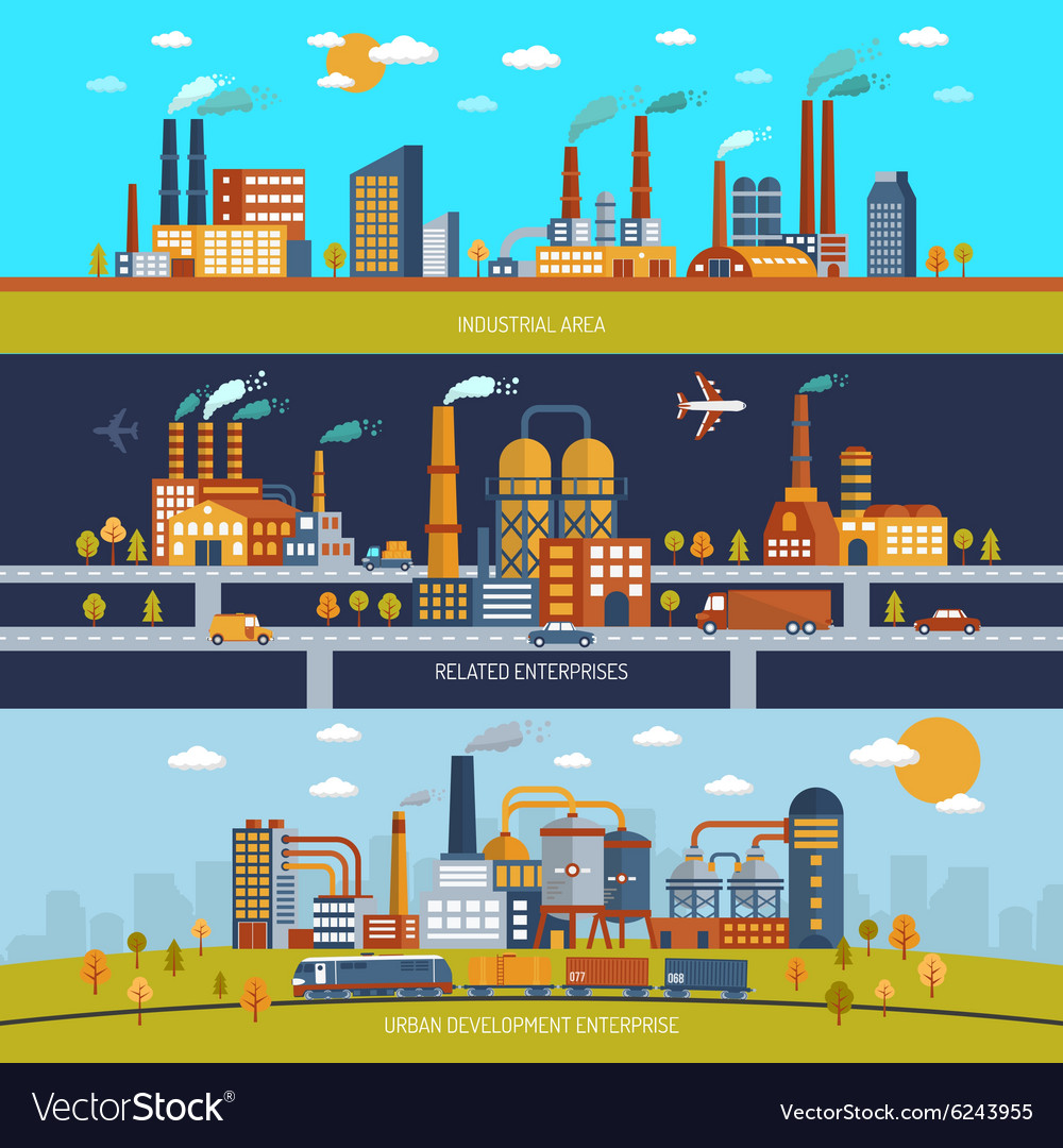 Factory banner set vector