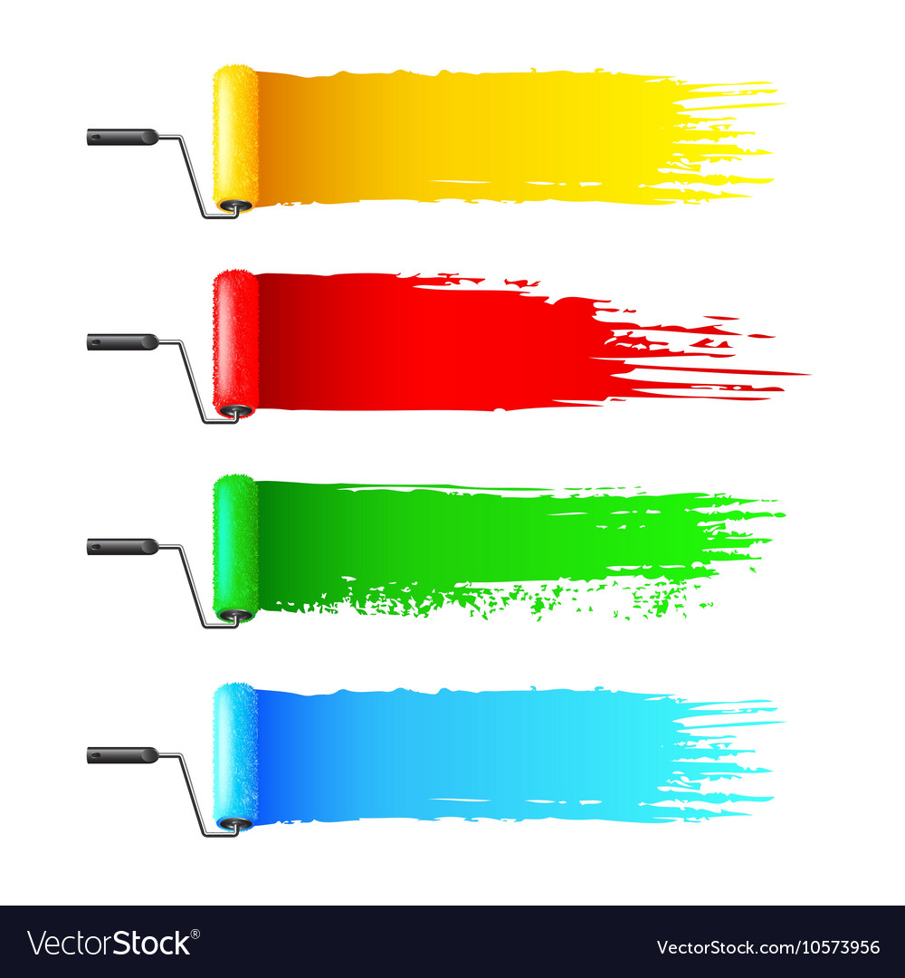 Colorful paint rollers and grunge stripes vector
