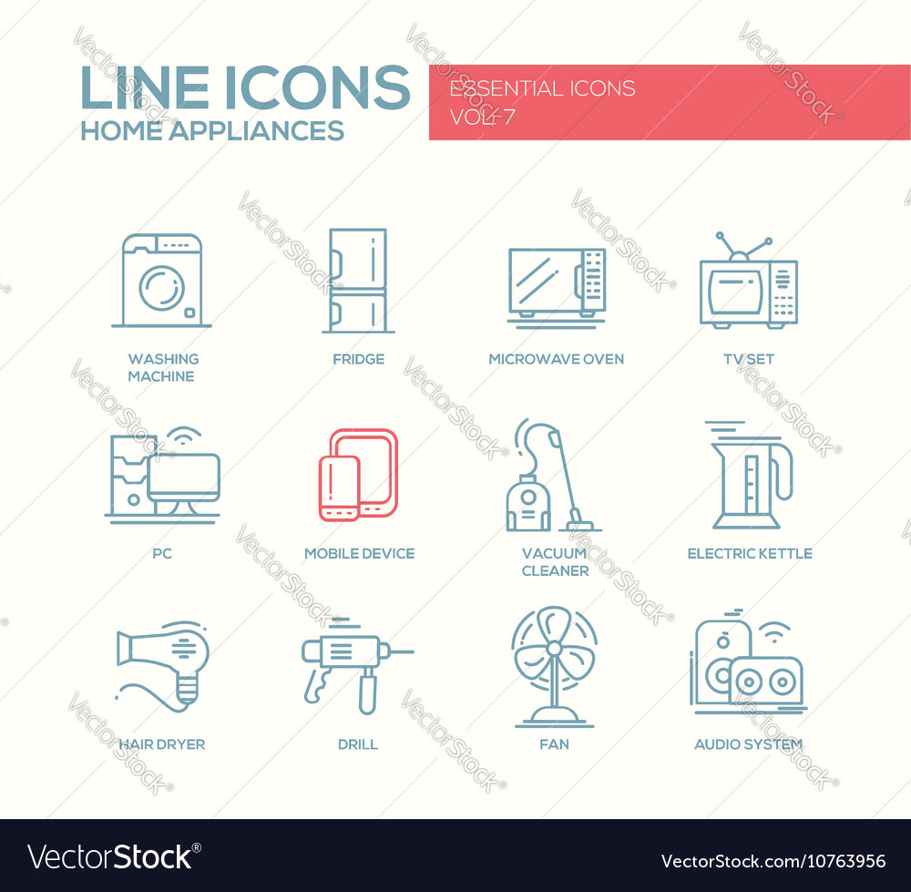 Home appliances  simple line design icons set vector