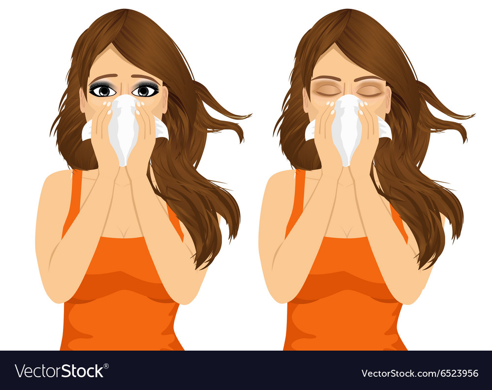 Young sick woman ill suffering allergy vector
