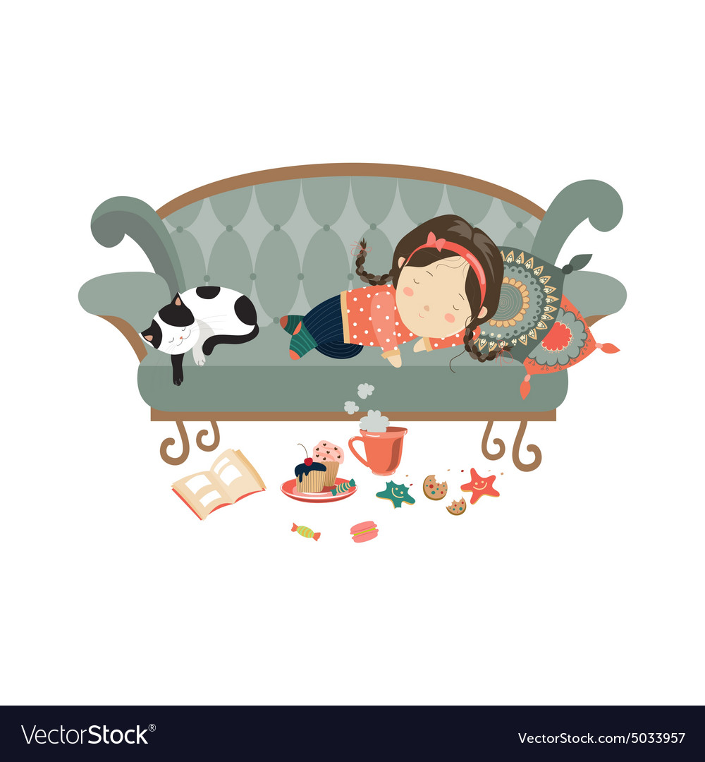 Lazy sleeping girl with cat vector