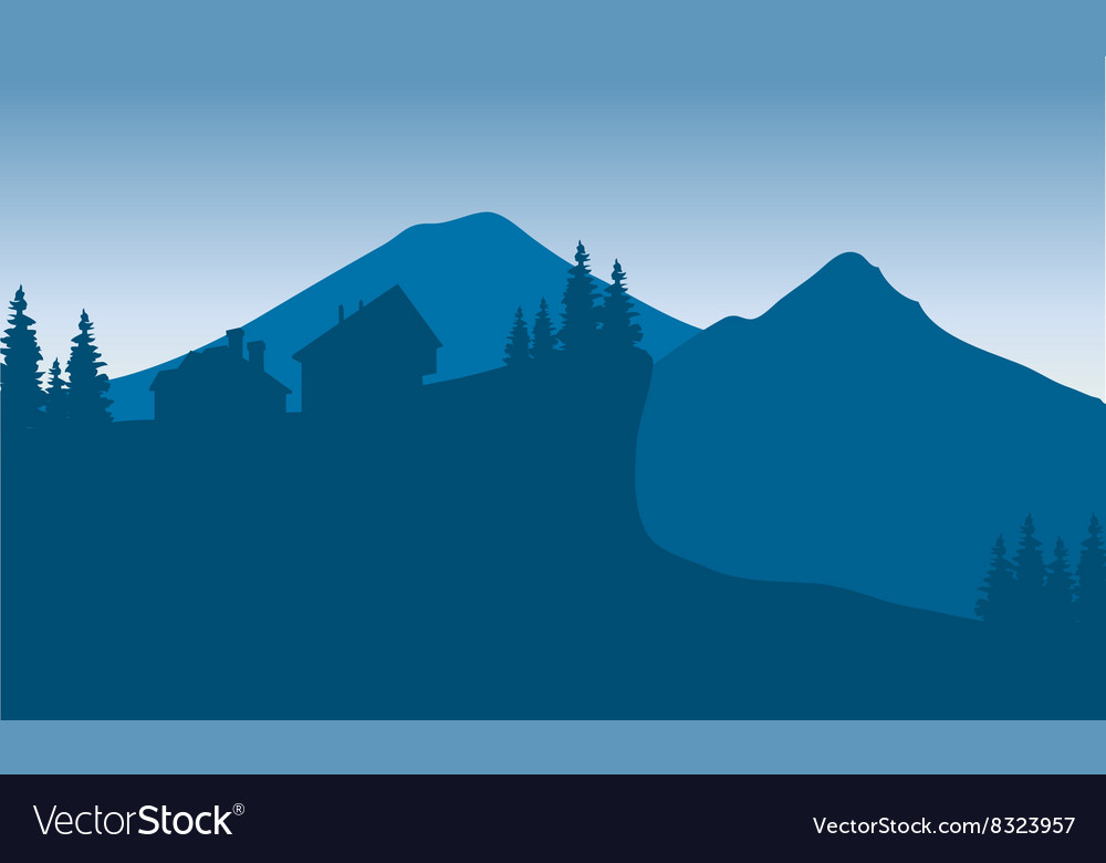 Silhouette of houese in hills vector