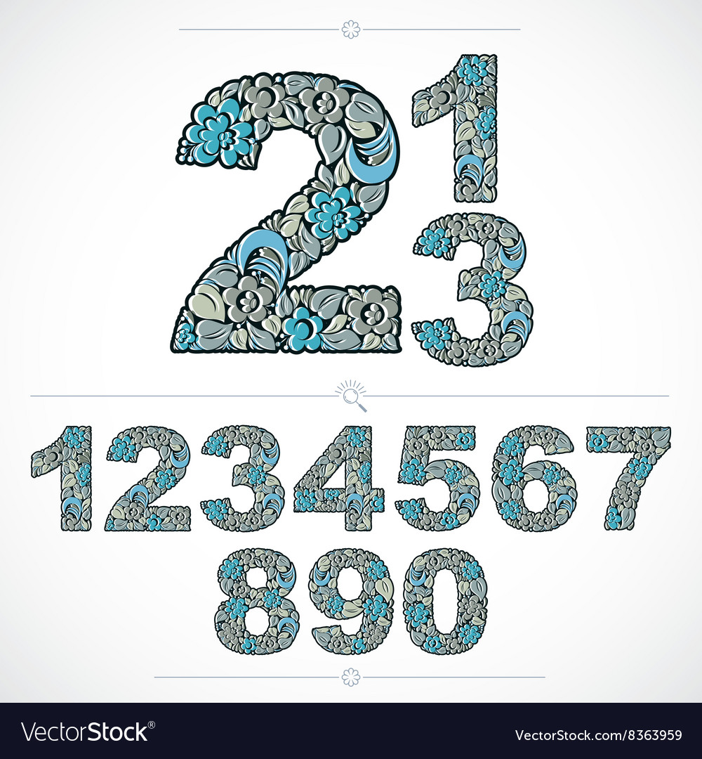 Ecology style flowery numbers blue numeration made vector
