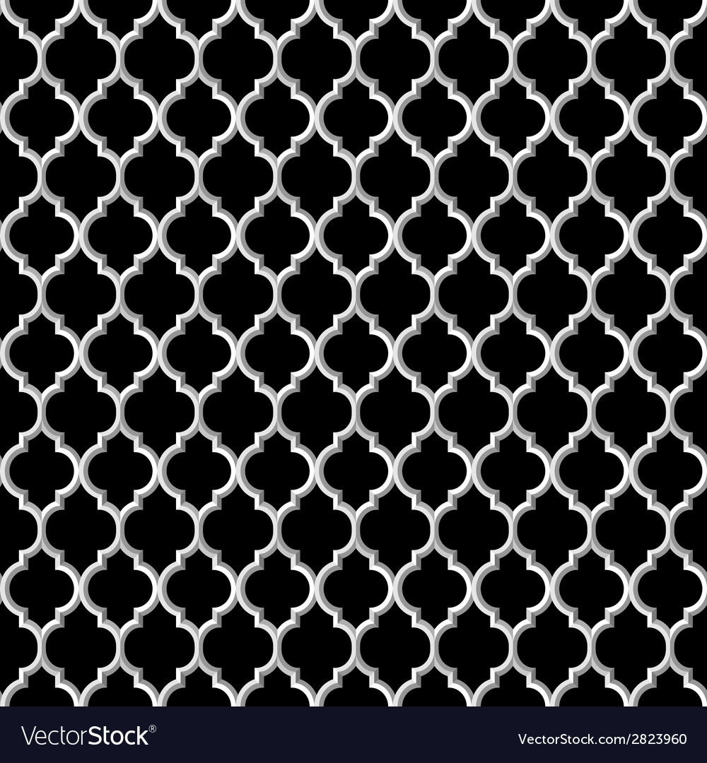 3d black and white islamic seamless pattern vector