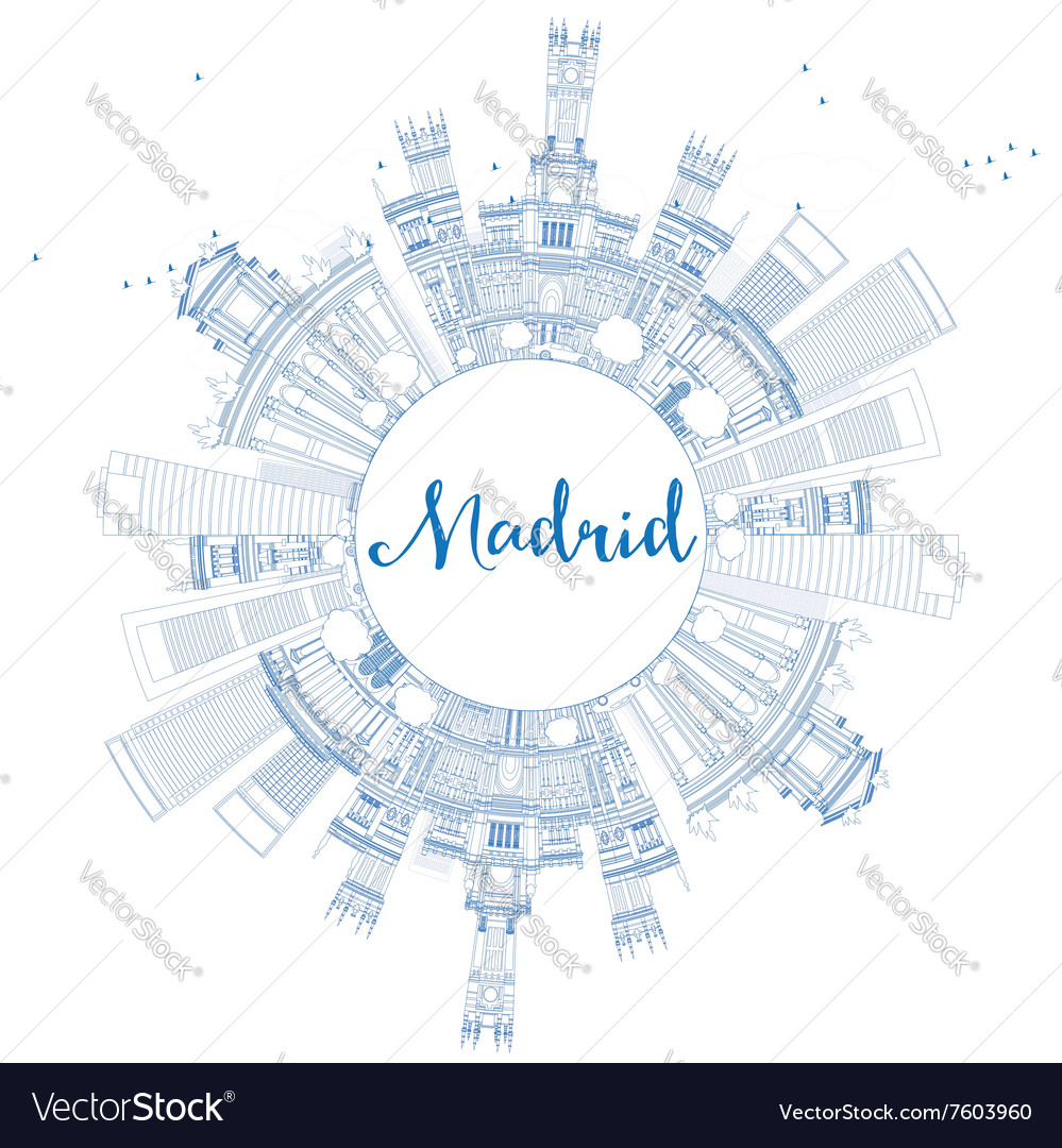 Outline madrid skyline with blue buildings vector