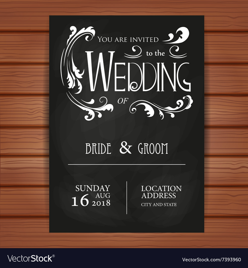 Wedding invitation on blackboard background vector