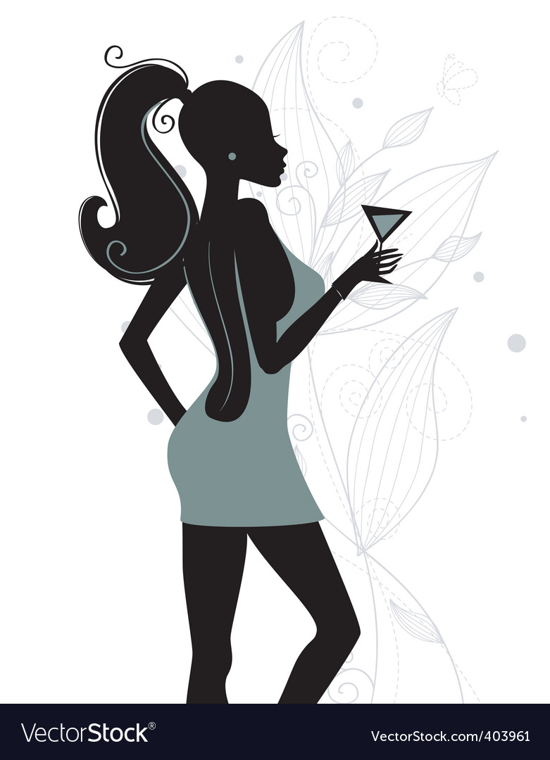 Girl with cocktail vector