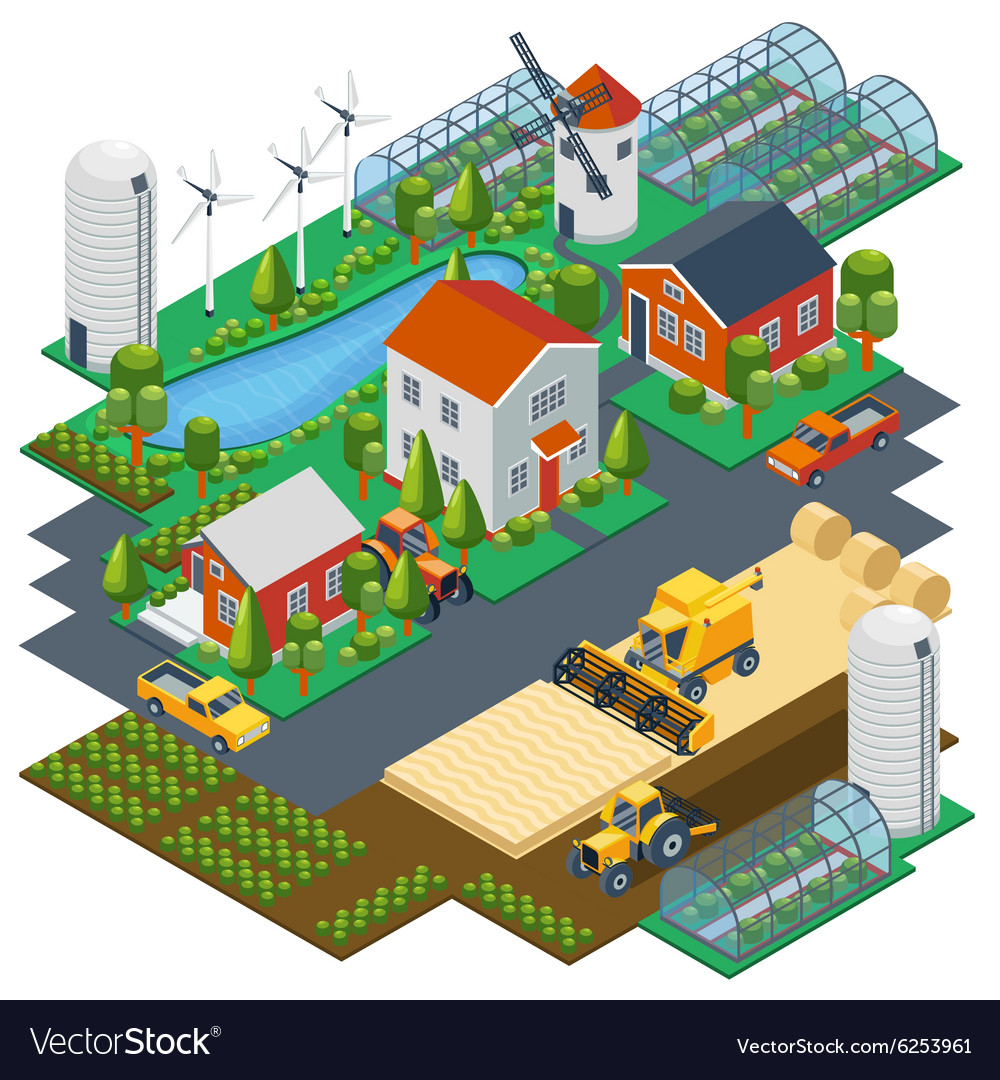 Isometric farm scene village setting with vector