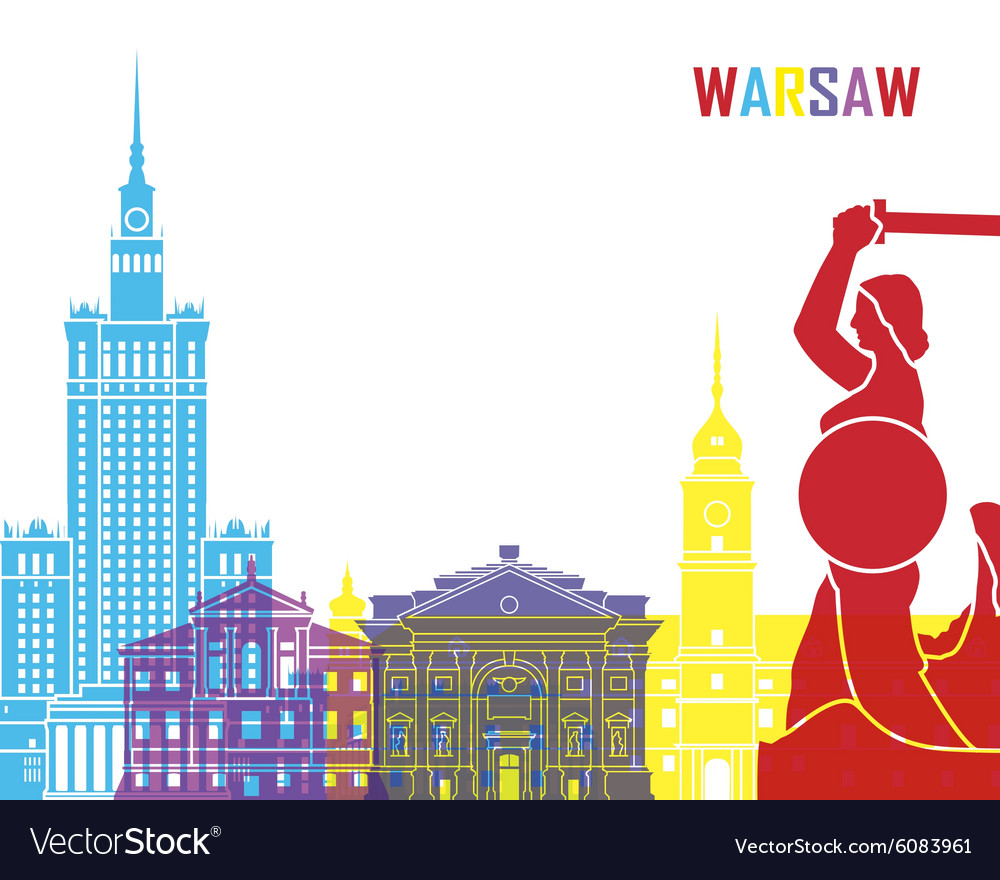 Warsaw skyline pop vector