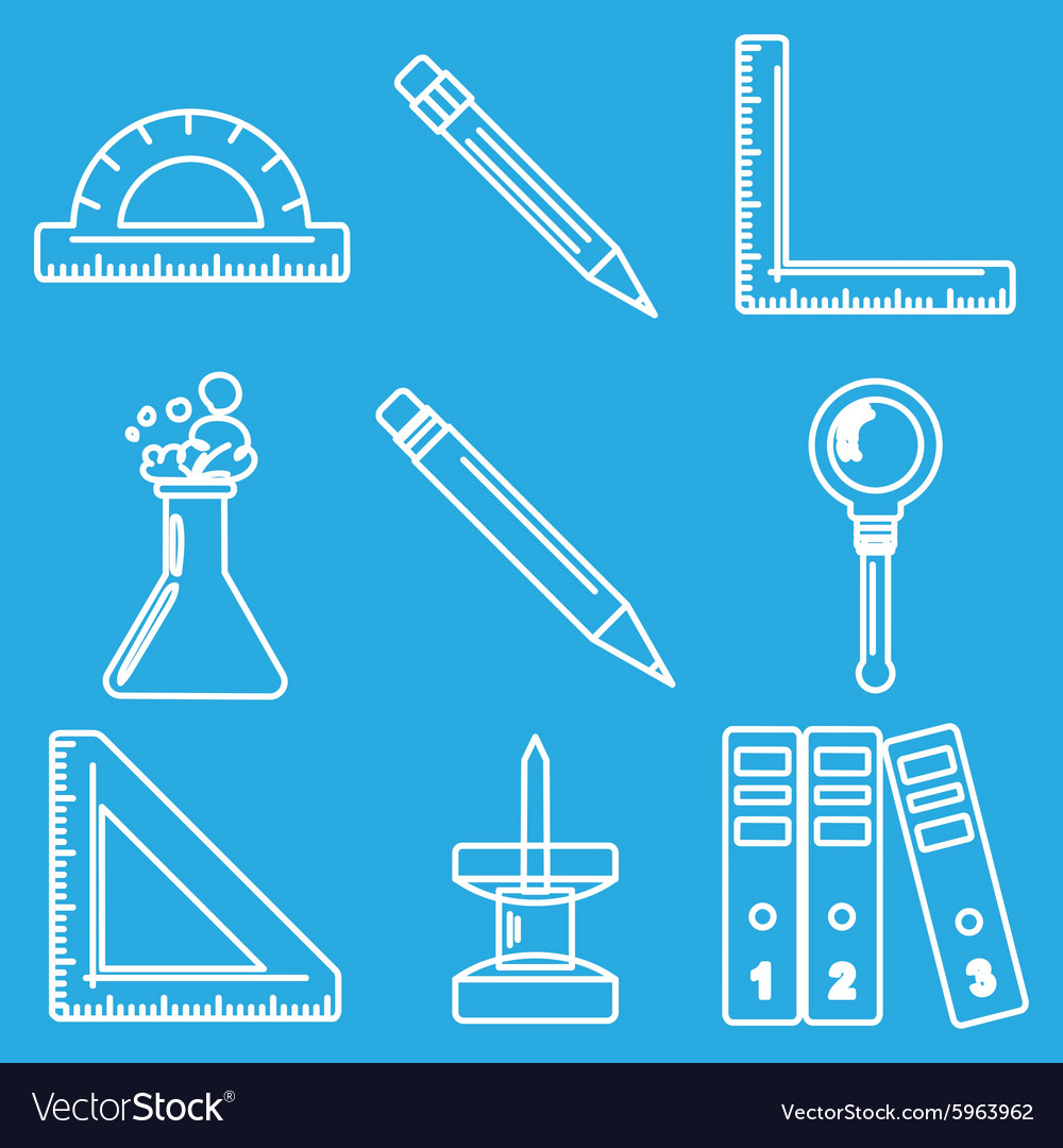 Black school goods chalk icons part 3 vector