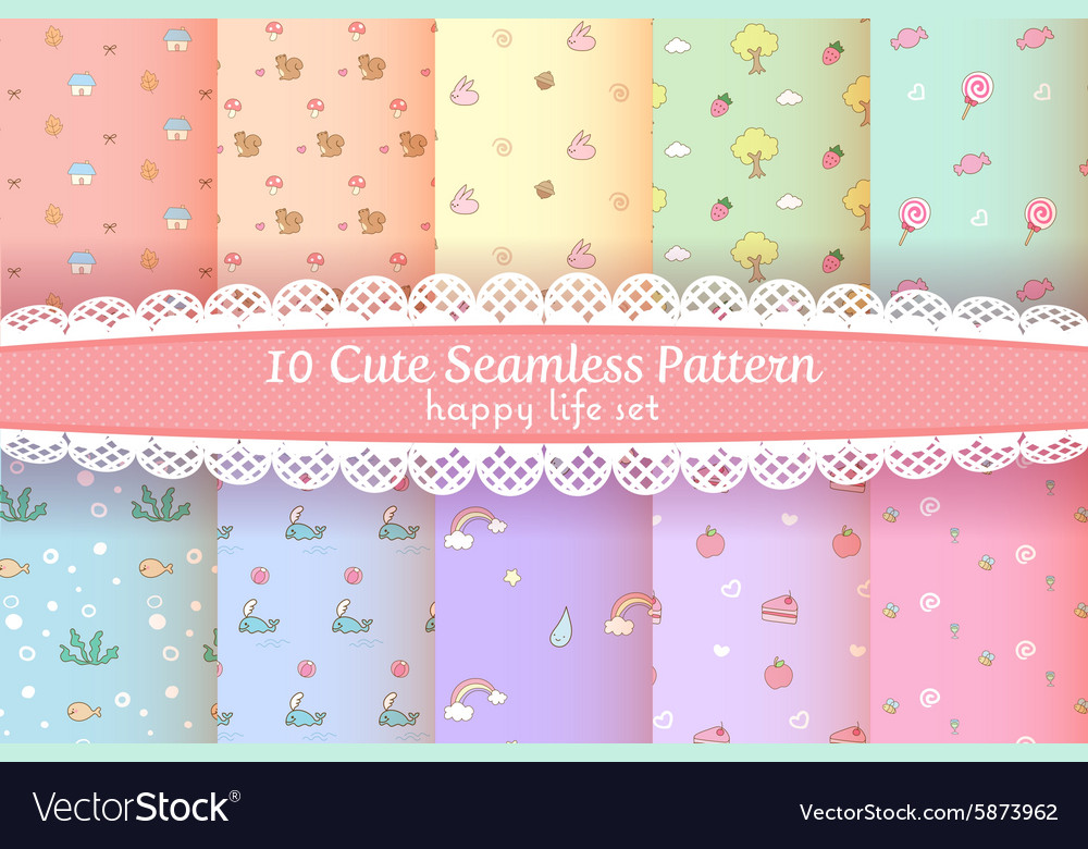 Cute rainbow seamless pattern happy cartoon set vector
