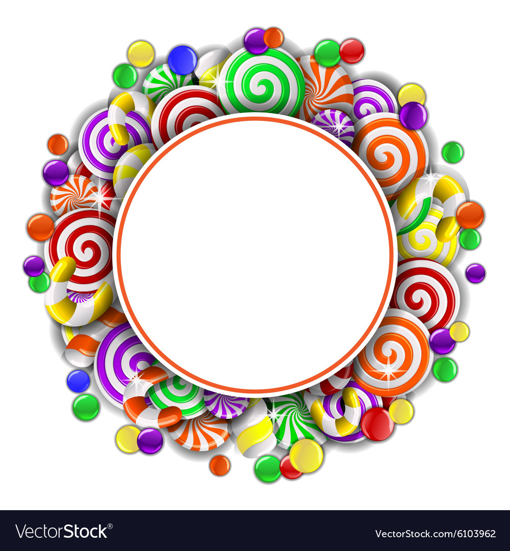 Frame with colorful candies vector