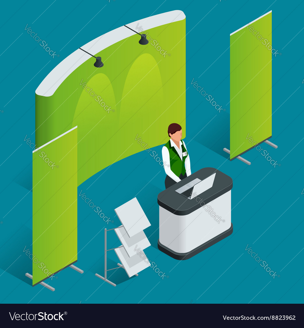 Promotion counter set trade stand blank vector
