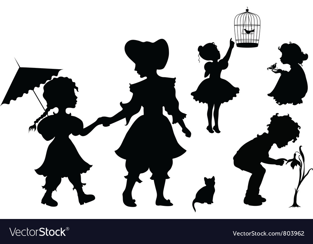 Set of silhouettes playing kids vector