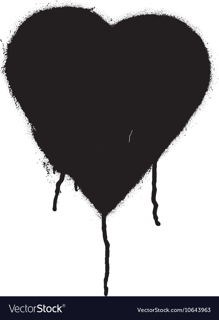 Black graffiti heart vector