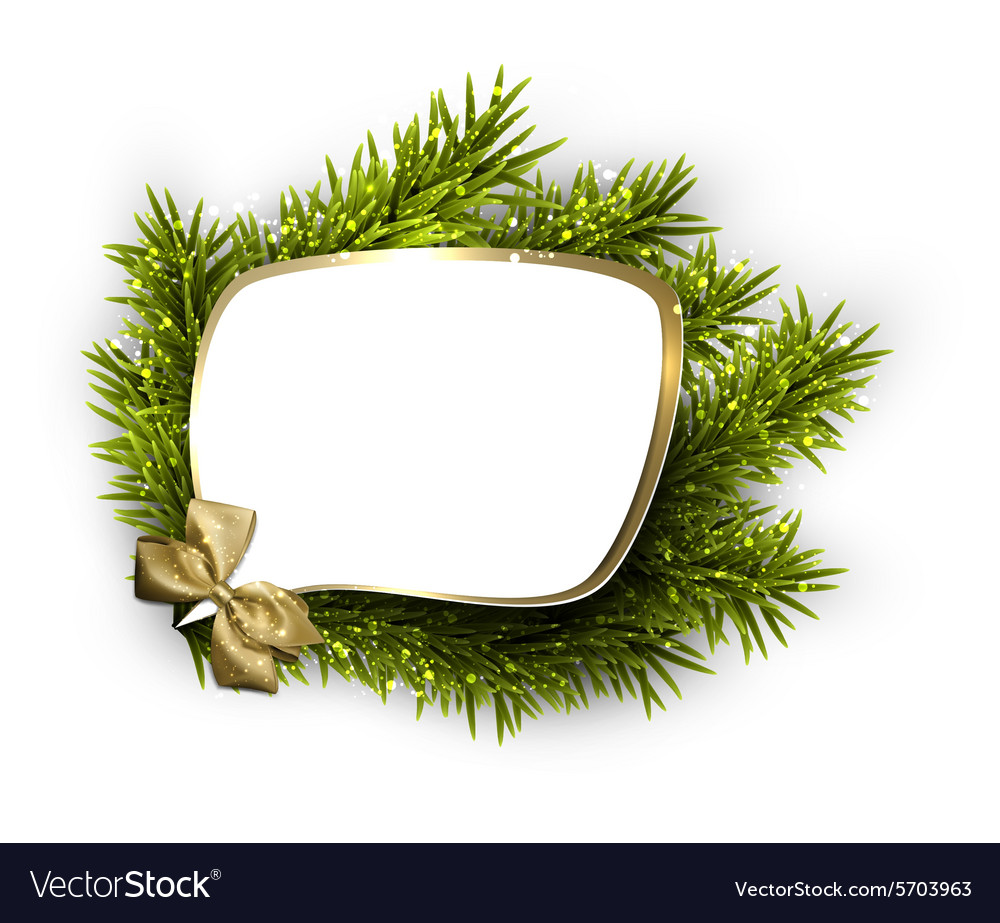 Paper speech bubble over spruce twigs vector
