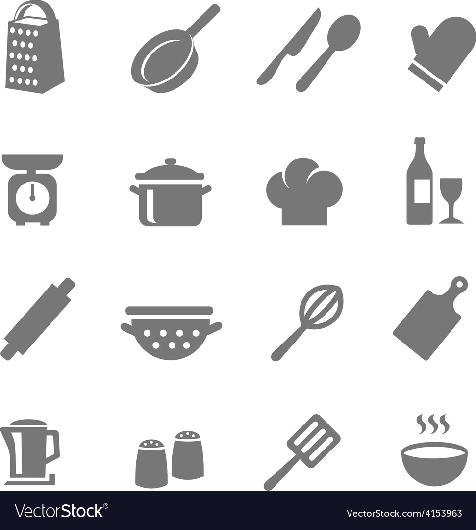 Set of kitchen and cooking icons vector