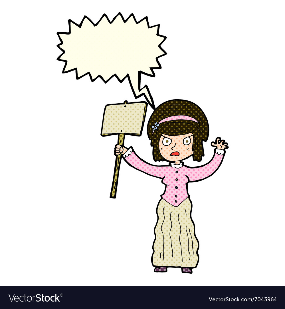 Cartoon vicorian woman protesting with speech vector