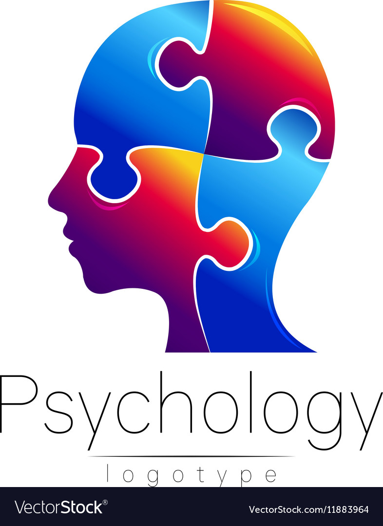 Modern head puzzle logo of psychology profile vector