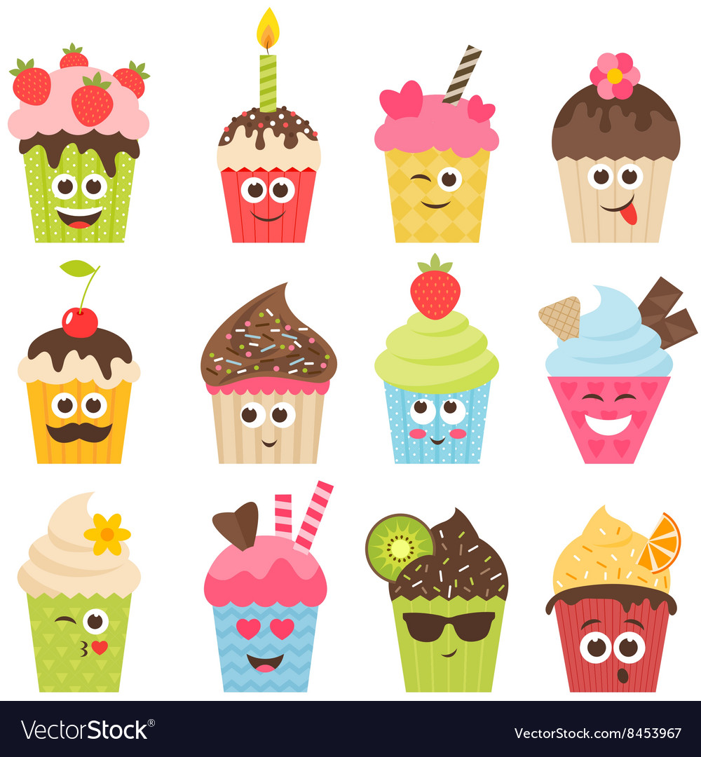 Set of cupcake smileys vector