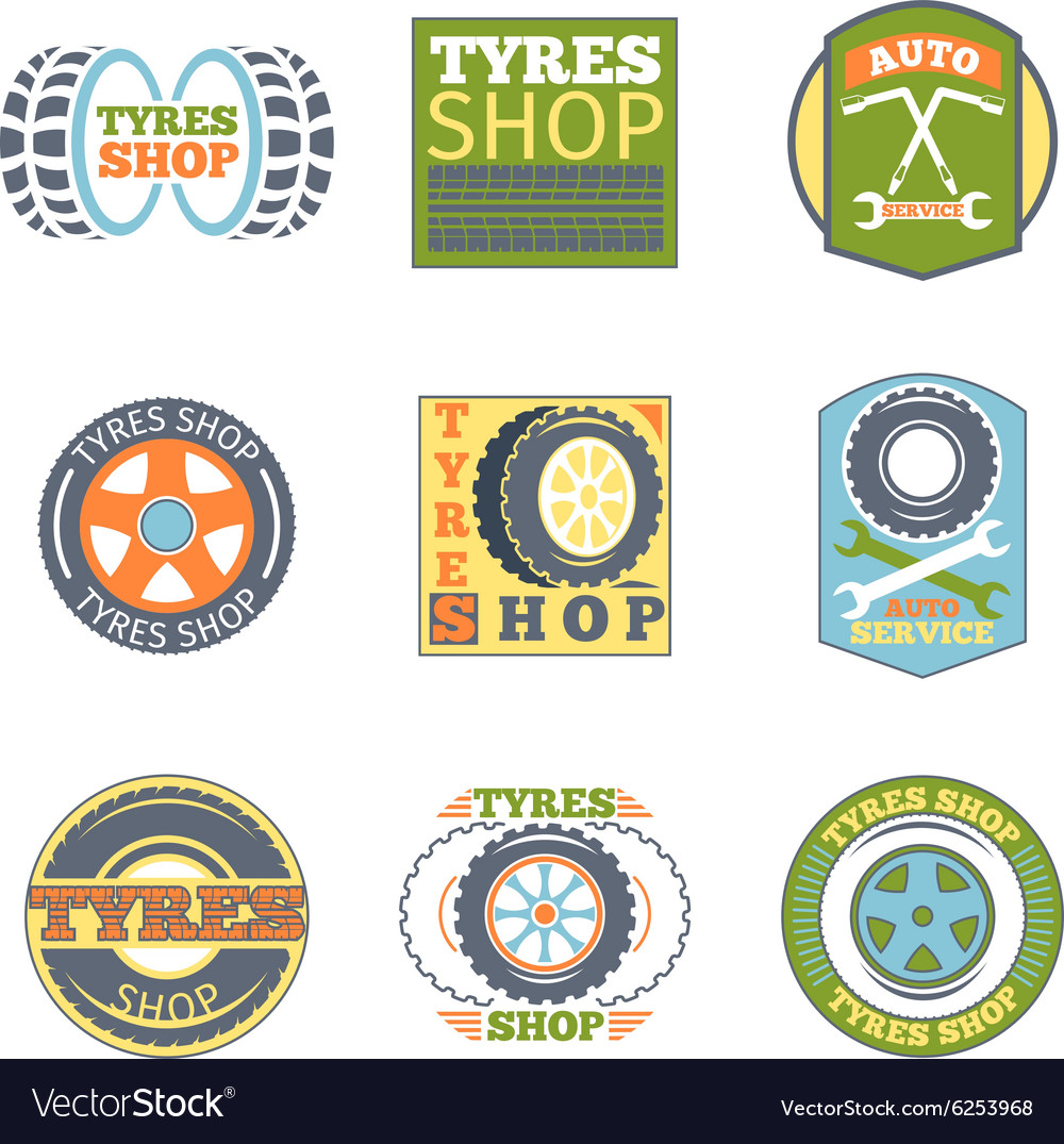 Tyre shop vintage flat badges vector
