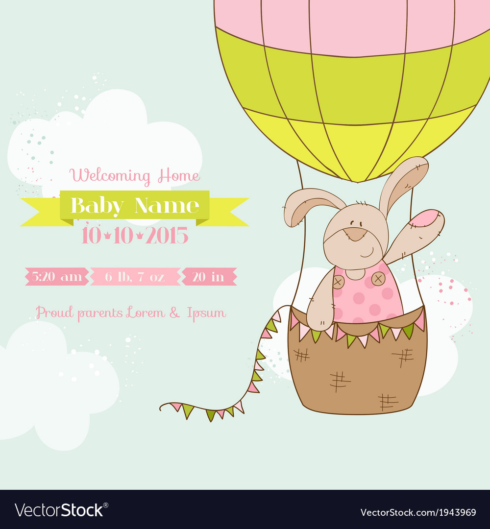 Baby shower card  baby bunny with air balloon vector