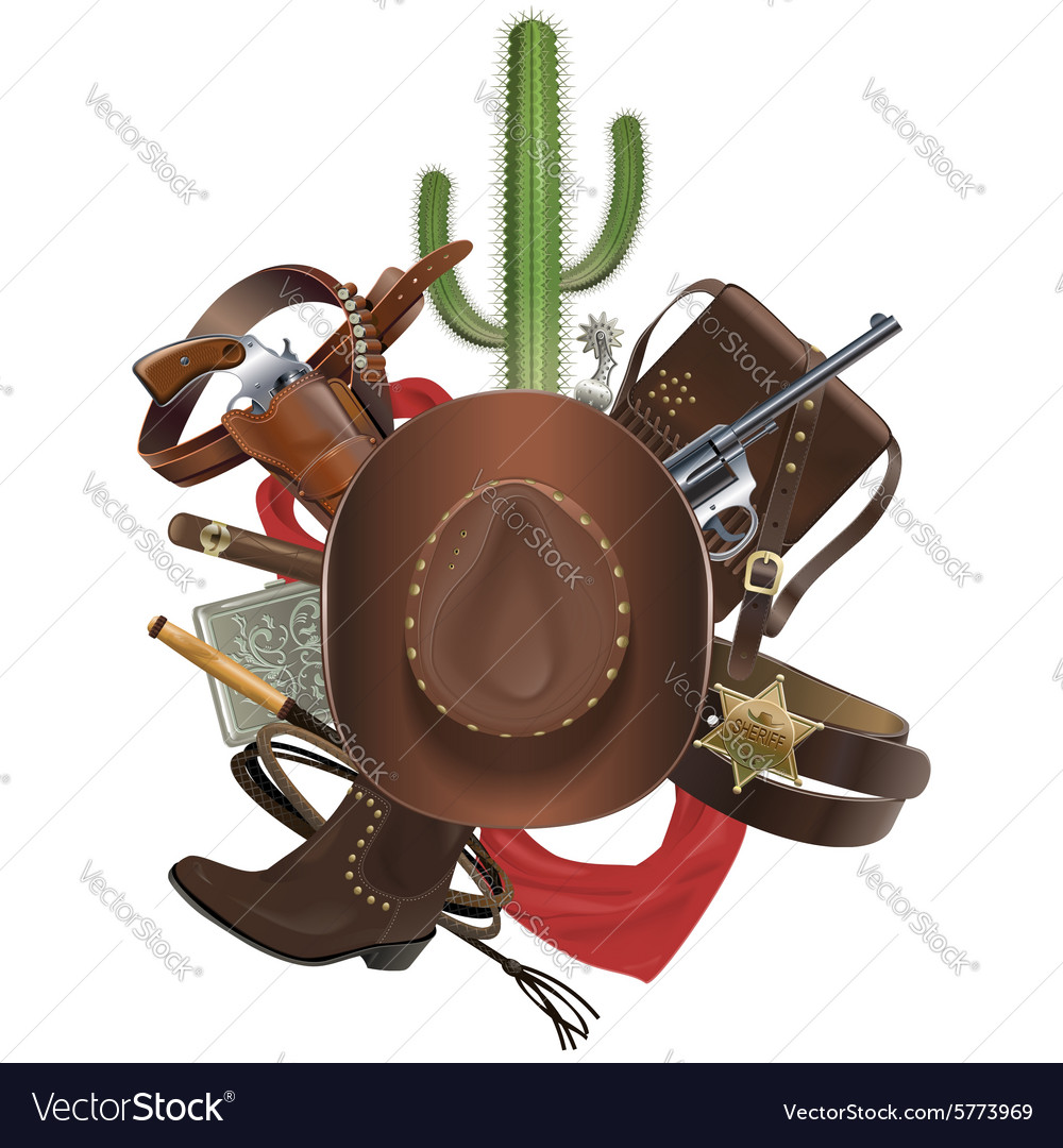 Cowboy concept with hat vector