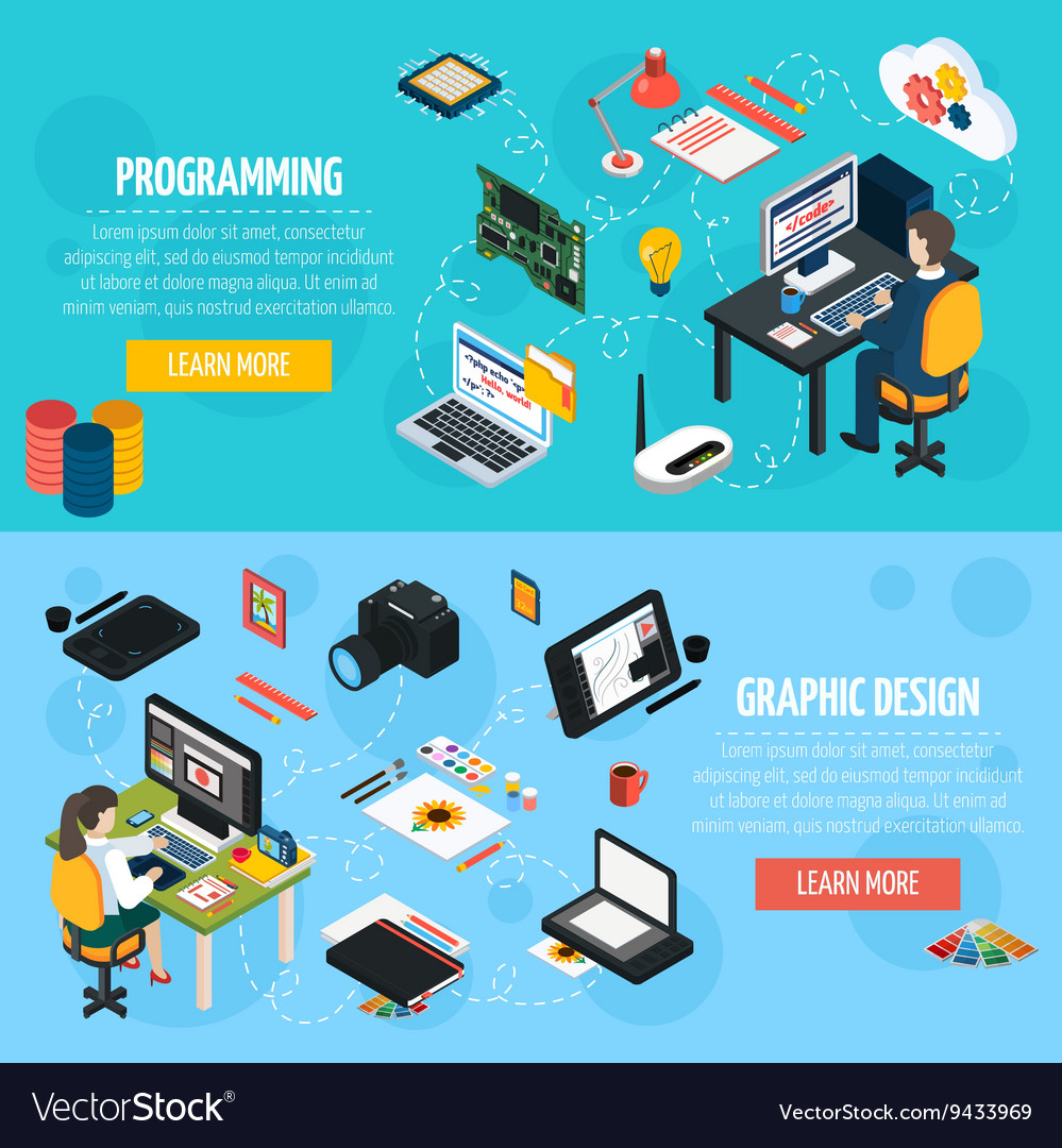 Programming and graphic design isometric banners vector
