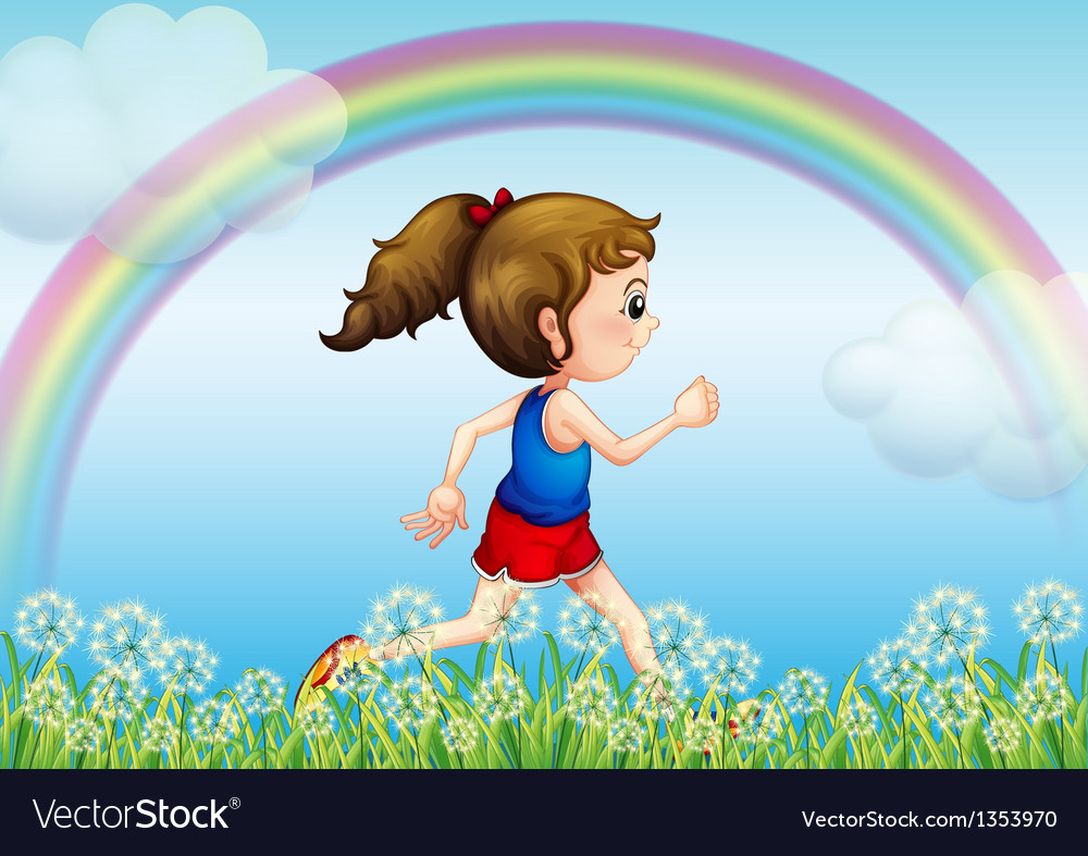 Jogging rainbow girl vector