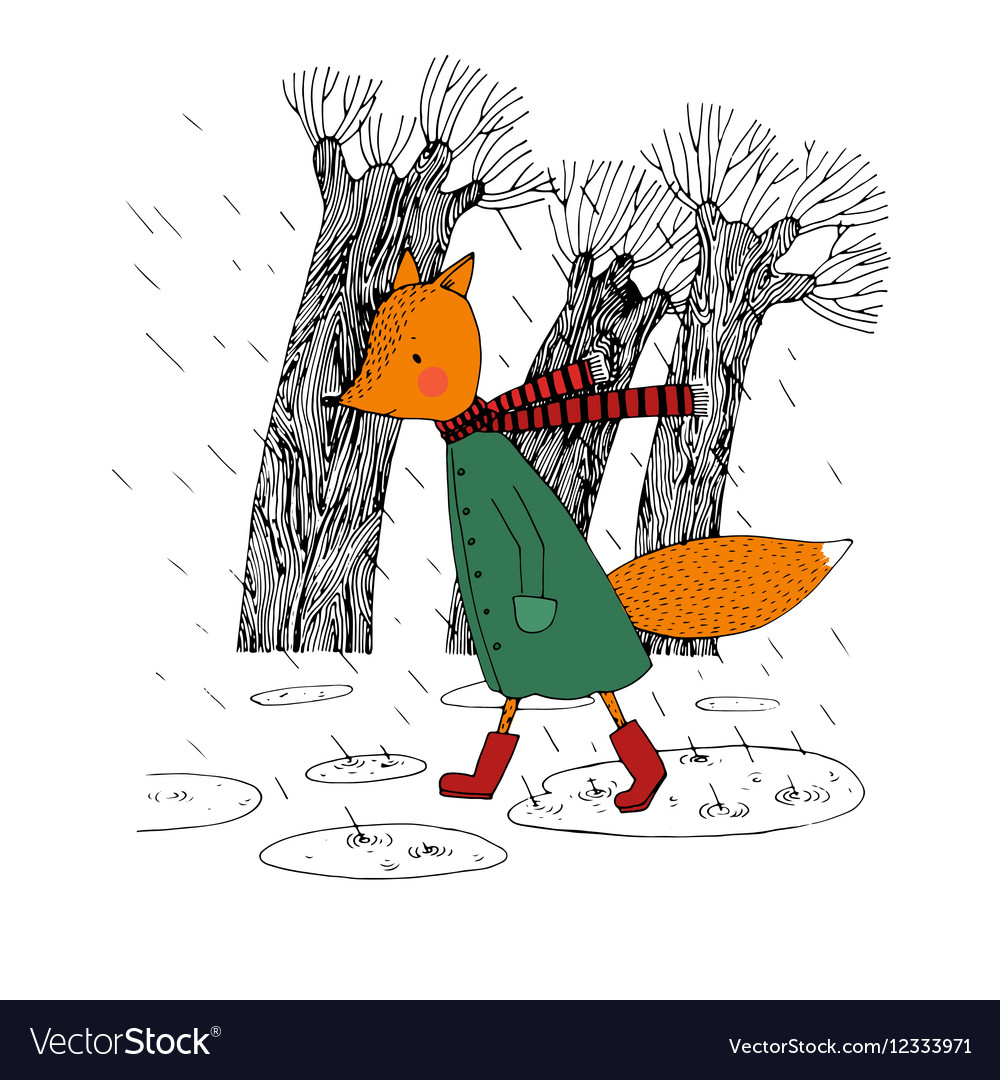 Sad fox walking in the rain vector