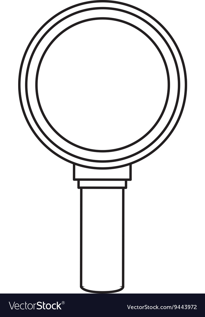 Black line magnifying glass vector