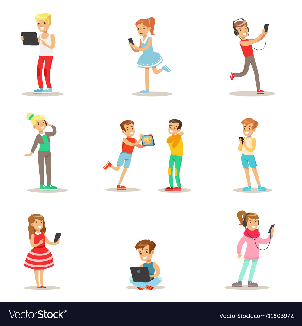 Children and gadgets set of with vector