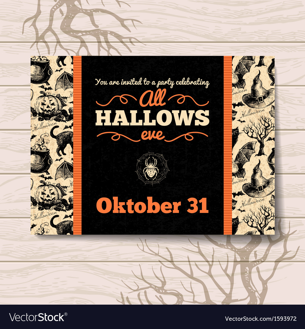 Halloween invitation vintage hand drawn vector