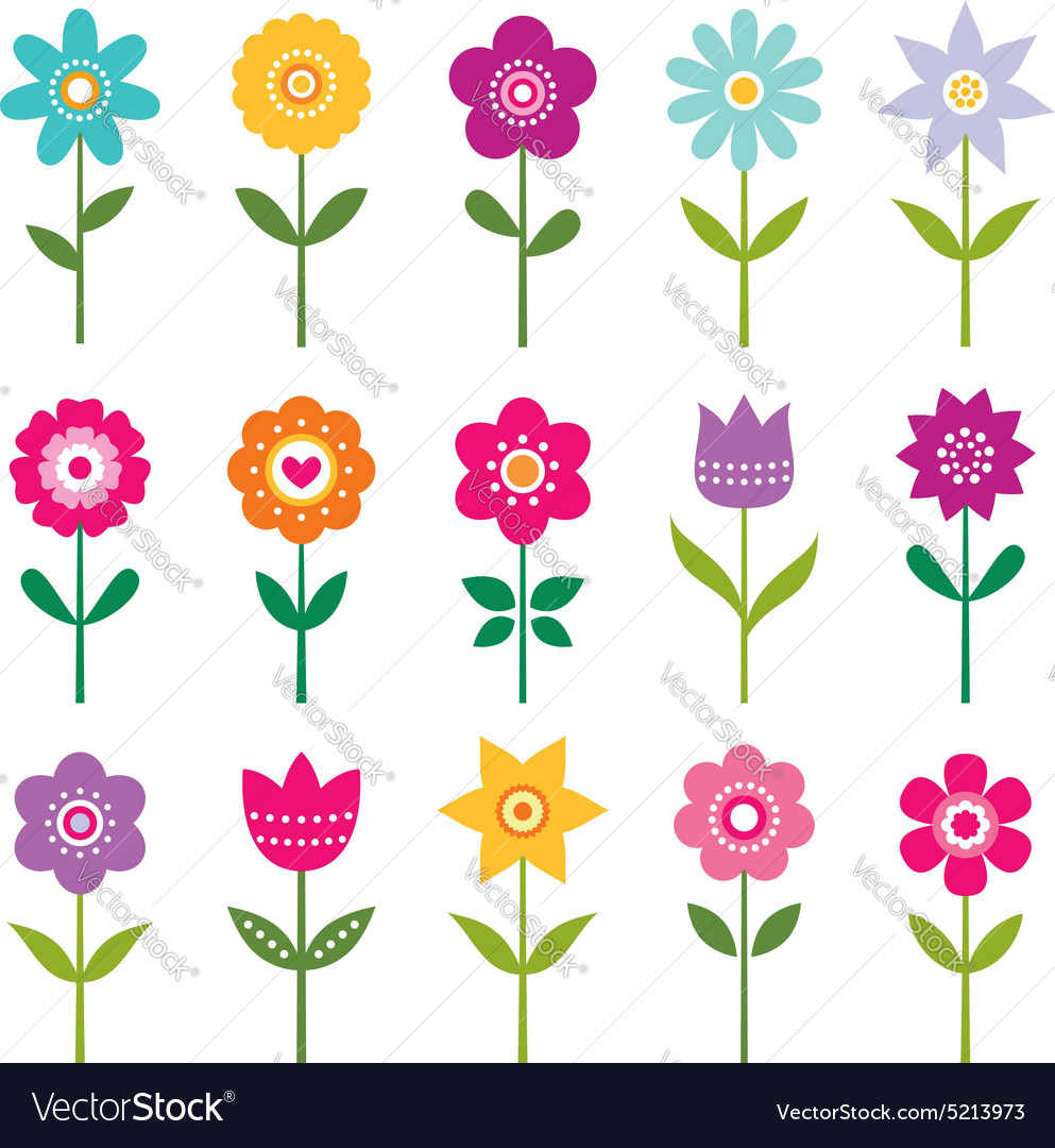 Isolated flowers set vector