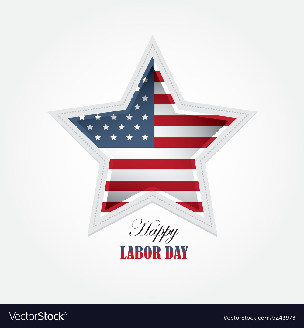 Labor day american flag star shaped wallpaper vector