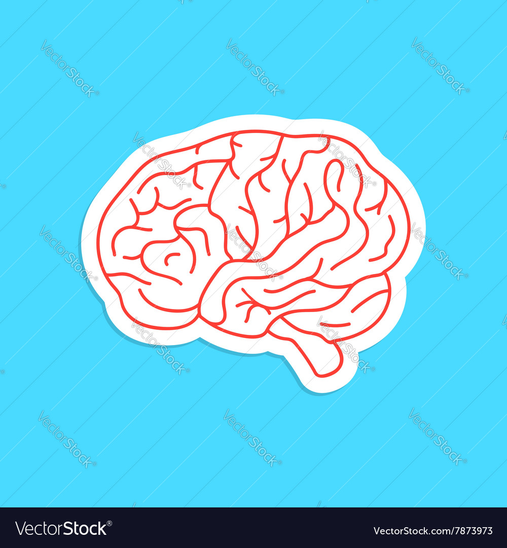 Red outline brain icon sticker vector