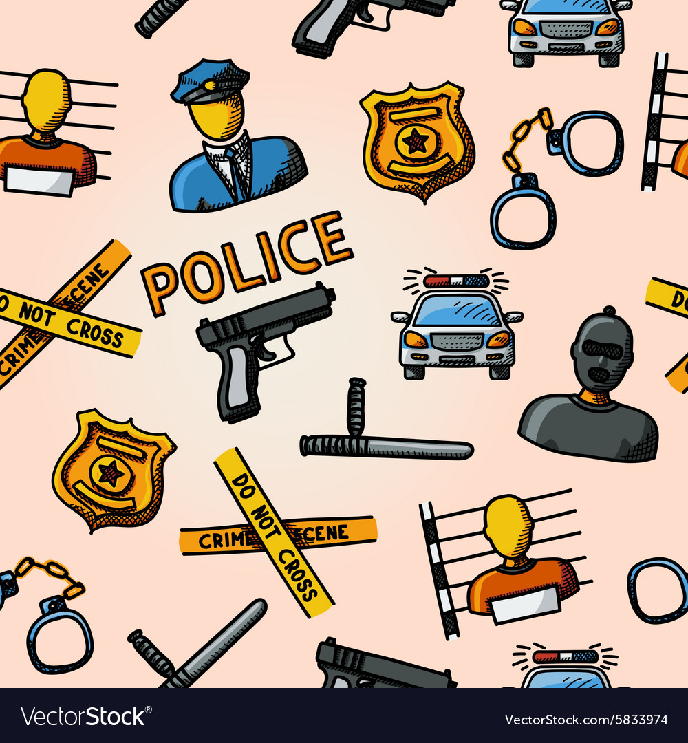 Color hand drawn police pattern  gun car crime vector
