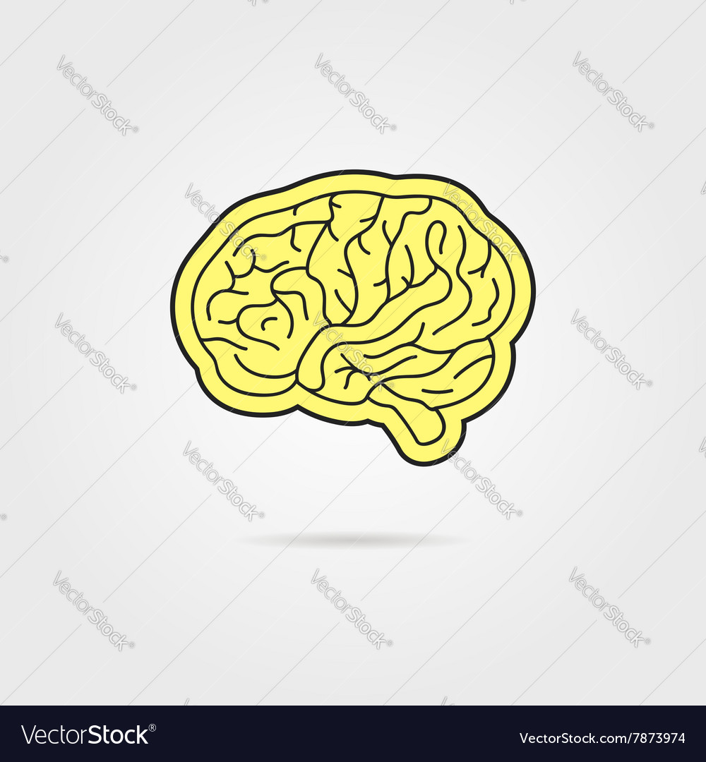 Simple black and yellow brain vector