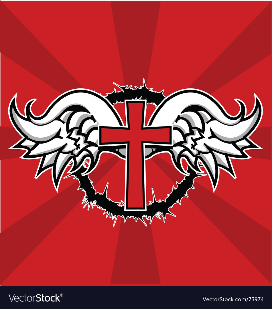 Winged cross vector